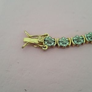 18K GOLD PLATED NATURAL DIAMOND TENNIS BRACELET